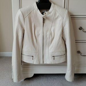 White House Black Market Cream Leather Moto Jacket
